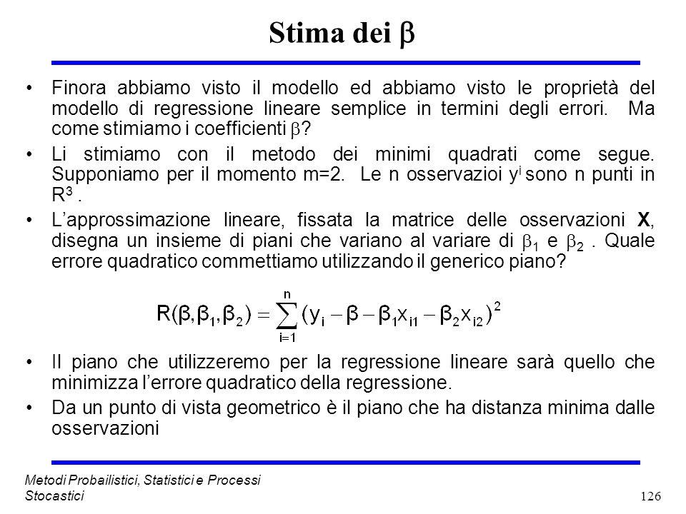 126 Metodi Probailistici, Statistici e Processi Stocastici Stima dei Finora abbiamo visto il modello ed abbiamo visto le proprietà del modello di regr