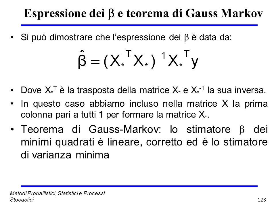 128 Metodi Probailistici, Statistici e Processi Stocastici Espressione dei e teorema di Gauss Markov Si può dimostrare che lespressione dei è data da: