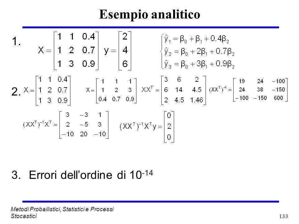 133 Metodi Probailistici, Statistici e Processi Stocastici Esempio analitico 1. 2. 3.Errori dellordine di 10 -14