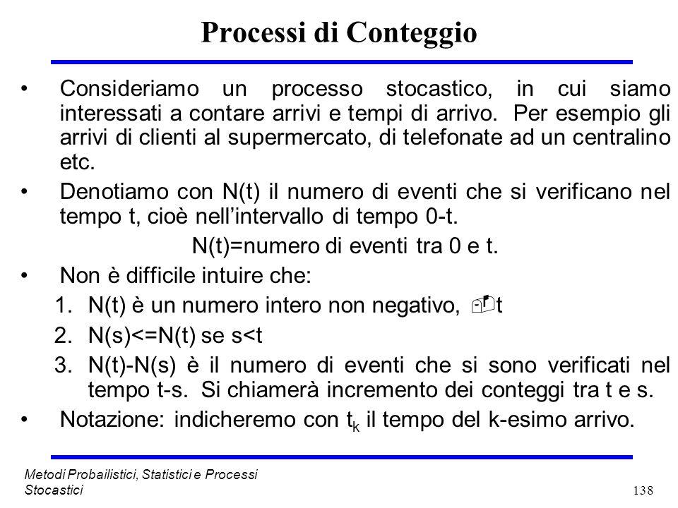 138 Metodi Probailistici, Statistici e Processi Stocastici Processi di Conteggio Consideriamo un processo stocastico, in cui siamo interessati a conta