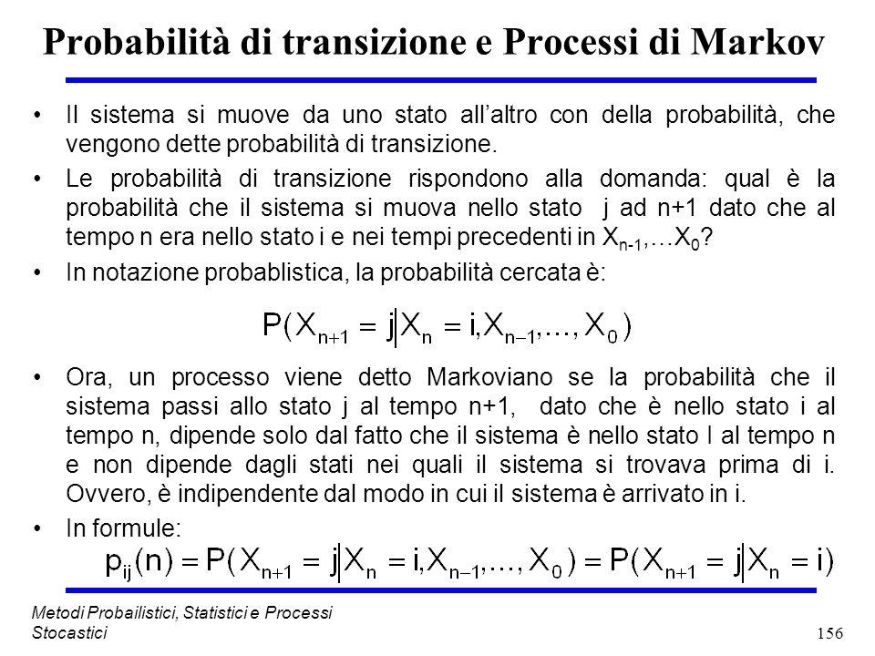 156 Metodi Probailistici, Statistici e Processi Stocastici Probabilità di transizione e Processi di Markov Il sistema si muove da uno stato allaltro c