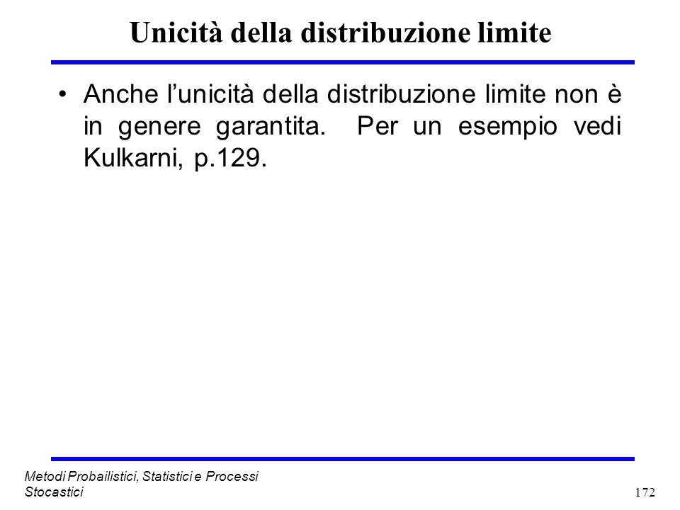 172 Metodi Probailistici, Statistici e Processi Stocastici Unicità della distribuzione limite Anche lunicità della distribuzione limite non è in gener