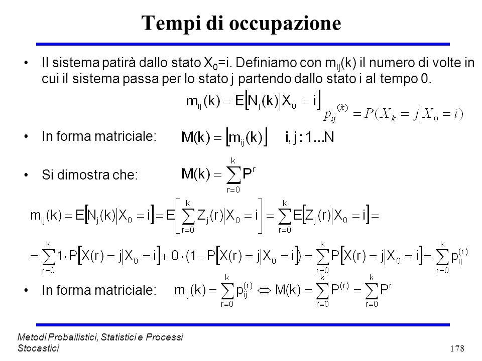 178 Metodi Probailistici, Statistici e Processi Stocastici Tempi di occupazione Il sistema patirà dallo stato X 0 =i. Definiamo con m ij (k) il numero