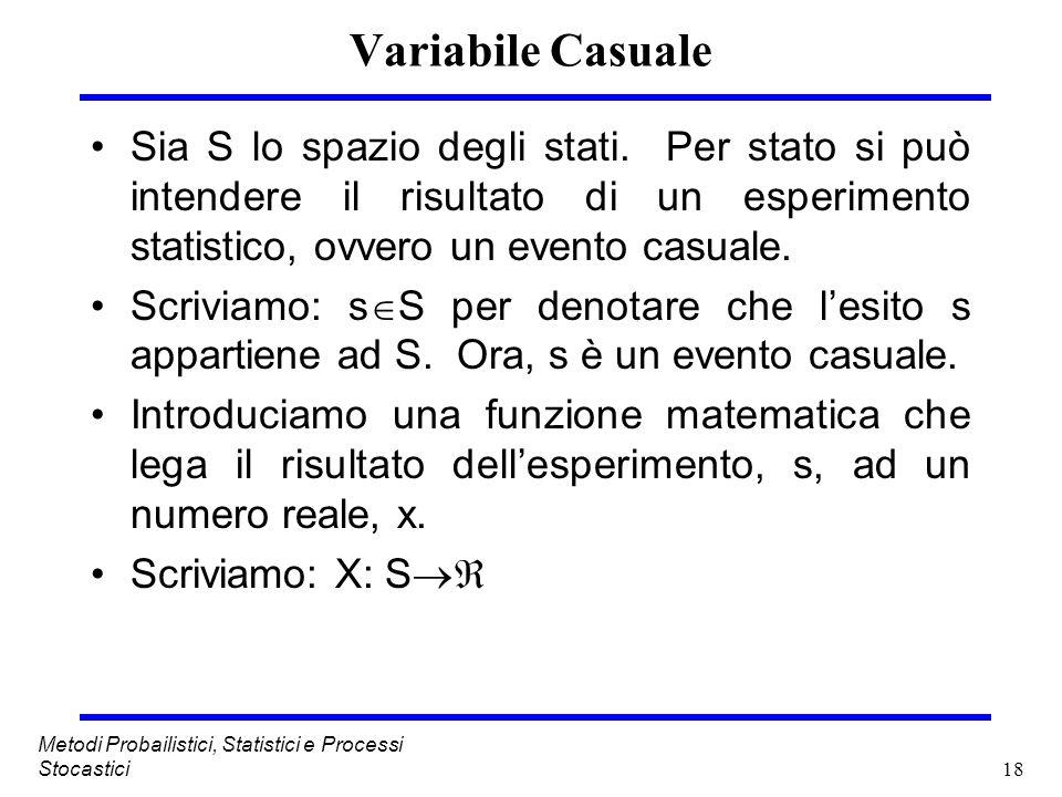 18 Metodi Probailistici, Statistici e Processi Stocastici Variabile Casuale Sia S lo spazio degli stati. Per stato si può intendere il risultato di un