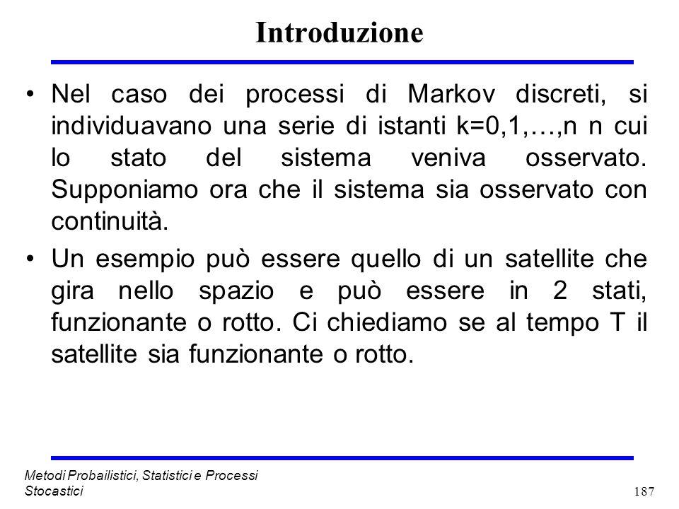 187 Metodi Probailistici, Statistici e Processi Stocastici Introduzione Nel caso dei processi di Markov discreti, si individuavano una serie di istant