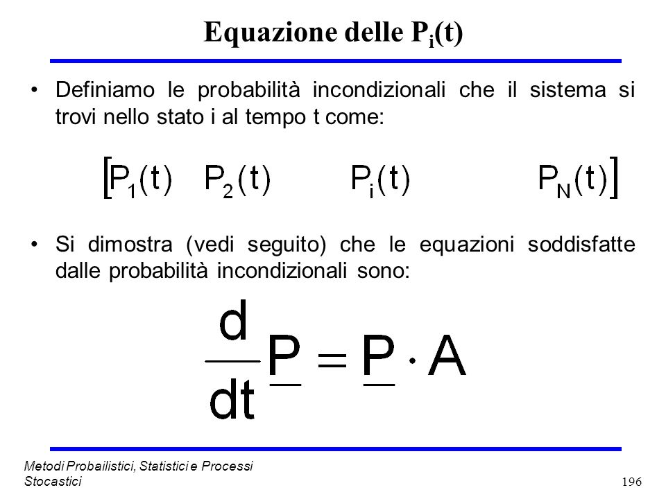 196 Metodi Probailistici, Statistici e Processi Stocastici Equazione delle P i (t) Definiamo le probabilità incondizionali che il sistema si trovi nel