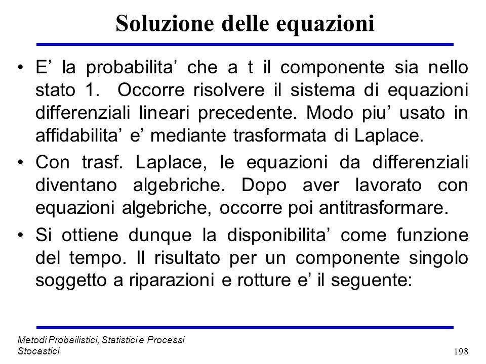 198 Metodi Probailistici, Statistici e Processi Stocastici Soluzione delle equazioni E la probabilita che a t il componente sia nello stato 1. Occorre