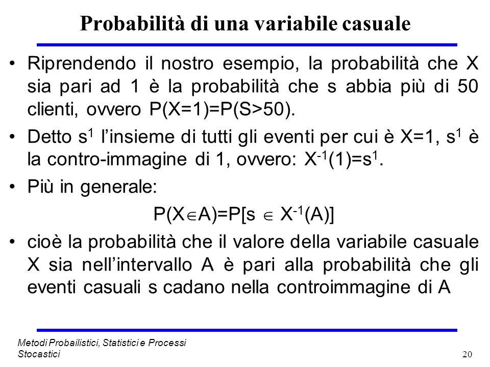 20 Metodi Probailistici, Statistici e Processi Stocastici Probabilità di una variabile casuale Riprendendo il nostro esempio, la probabilità che X sia