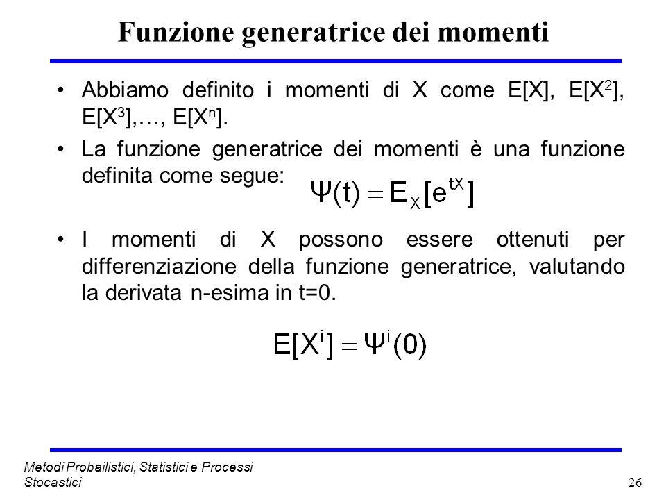 26 Metodi Probailistici, Statistici e Processi Stocastici Funzione generatrice dei momenti Abbiamo definito i momenti di X come E[X], E[X 2 ], E[X 3 ]