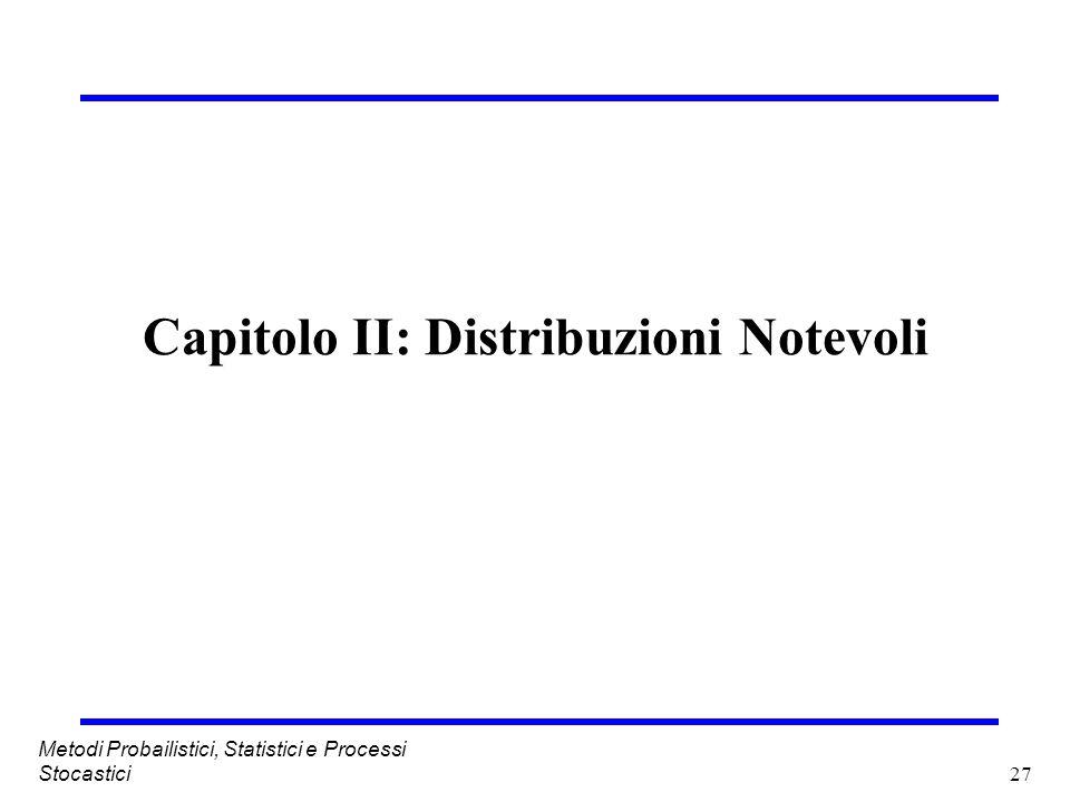 27 Metodi Probailistici, Statistici e Processi Stocastici Capitolo II: Distribuzioni Notevoli