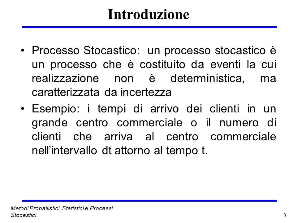 3 Metodi Probailistici, Statistici e Processi Stocastici Introduzione Processo Stocastico: un processo stocastico è un processo che è costituito da ev
