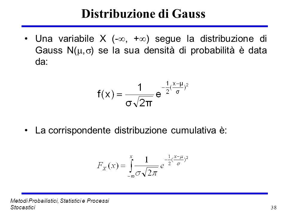 38 Metodi Probailistici, Statistici e Processi Stocastici Distribuzione di Gauss Una variabile X (-, + ) segue la distribuzione di Gauss N(, ) se la s