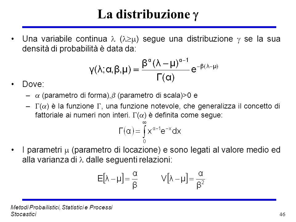 46 Metodi Probailistici, Statistici e Processi Stocastici La distribuzione Una variabile continua ( ) segue una distribuzione se la sua densità di pro
