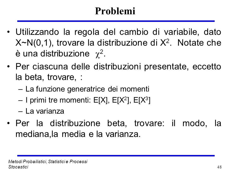 48 Metodi Probailistici, Statistici e Processi Stocastici Problemi Utilizzando la regola del cambio di variabile, dato X~N(0,1), trovare la distribuzi
