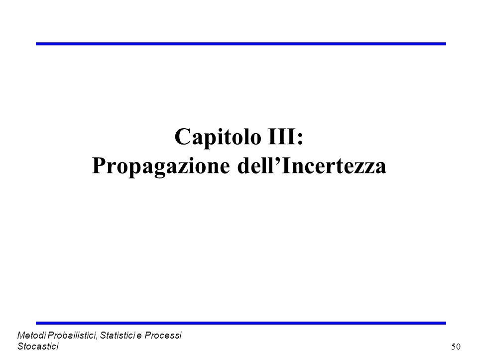 50 Metodi Probailistici, Statistici e Processi Stocastici Capitolo III: Propagazione dellIncertezza