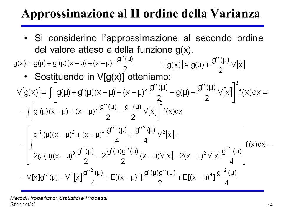 54 Metodi Probailistici, Statistici e Processi Stocastici Approssimazione al II ordine della Varianza Si considerino lapprossimazione al secondo ordin