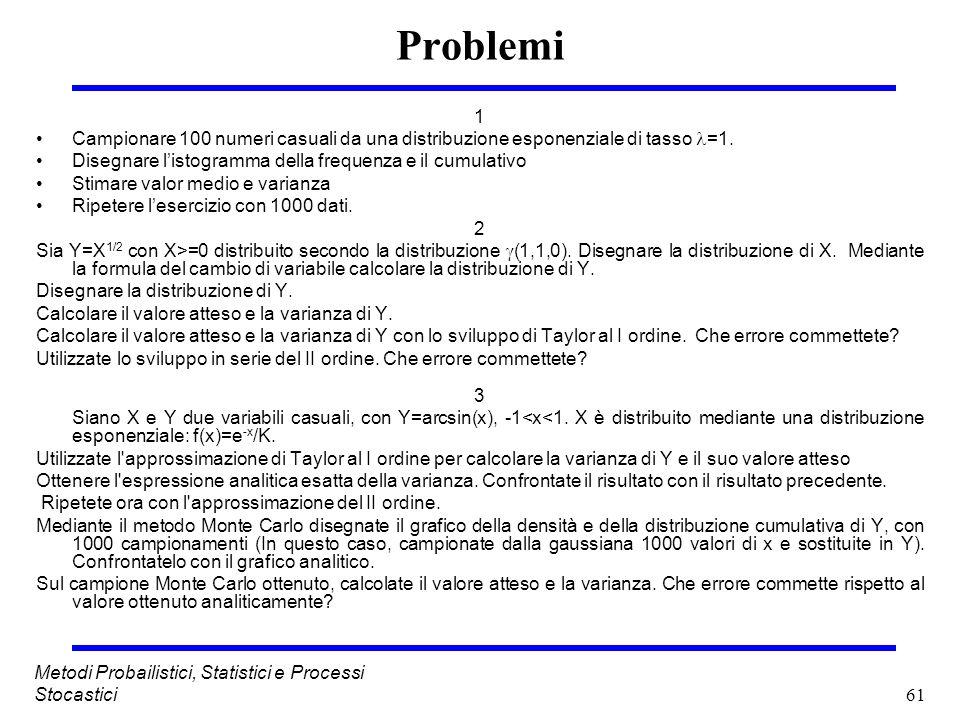 61 Metodi Probailistici, Statistici e Processi Stocastici Problemi 1 Campionare 100 numeri casuali da una distribuzione esponenziale di tasso =1. Dise