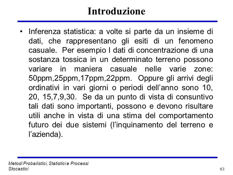 63 Metodi Probailistici, Statistici e Processi Stocastici Introduzione Inferenza statistica: a volte si parte da un insieme di dati, che rappresentano