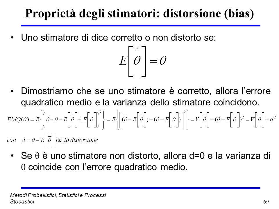 69 Metodi Probailistici, Statistici e Processi Stocastici Proprietà degli stimatori: distorsione (bias) Uno stimatore di dice corretto o non distorto