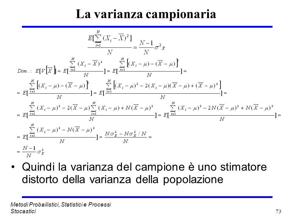 73 Metodi Probailistici, Statistici e Processi Stocastici La varianza campionaria Quindi la varianza del campione è uno stimatore distorto della varia