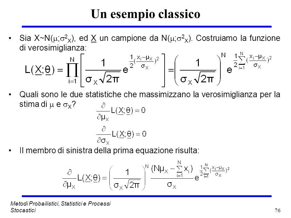 76 Metodi Probailistici, Statistici e Processi Stocastici Un esempio classico Sia X~N( ; 2 X ), ed X un campione da N( ; 2 X ). Costruiamo la funzione