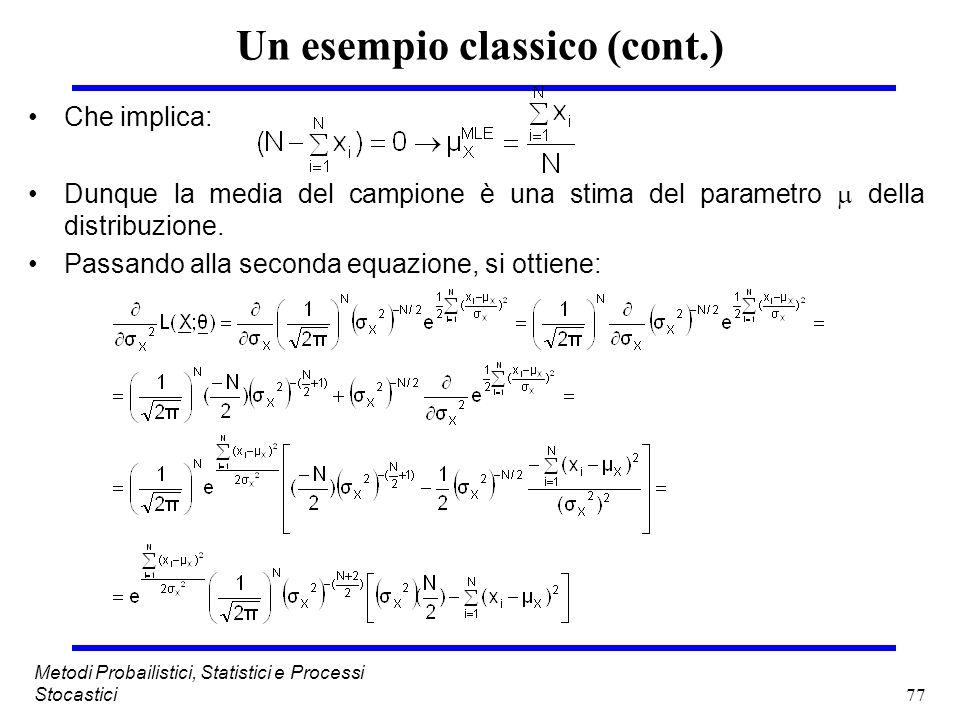 77 Metodi Probailistici, Statistici e Processi Stocastici Un esempio classico (cont.) Che implica: Dunque la media del campione è una stima del parame