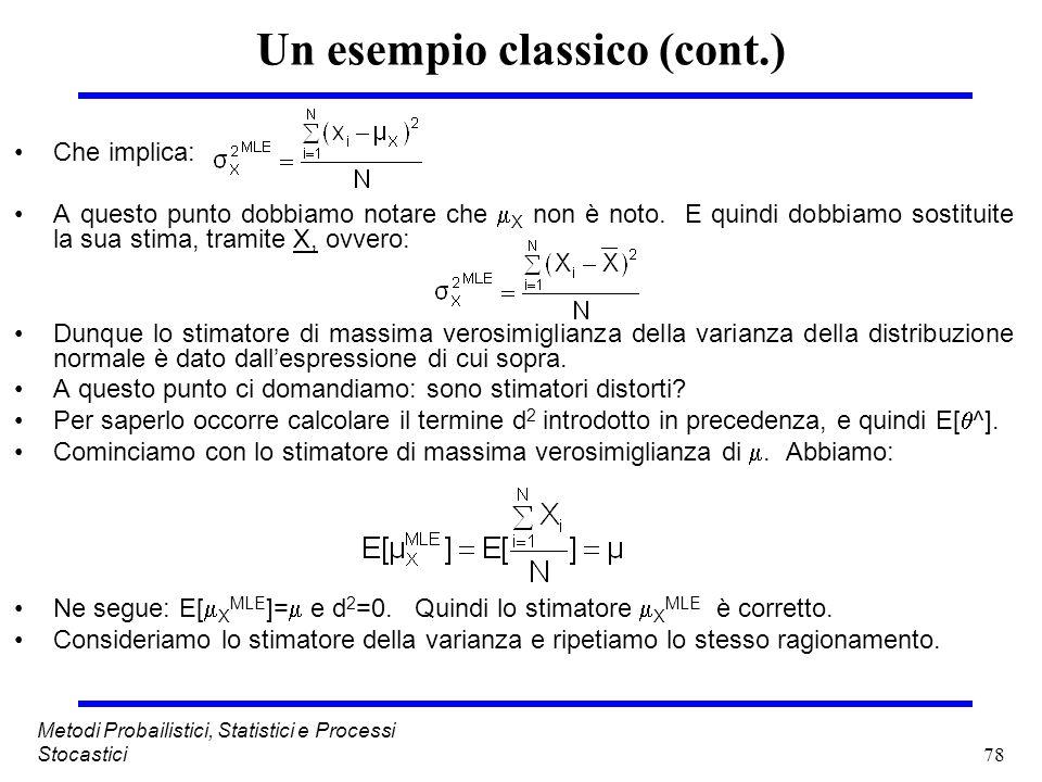 78 Metodi Probailistici, Statistici e Processi Stocastici Un esempio classico (cont.) Che implica: A questo punto dobbiamo notare che X non è noto. E