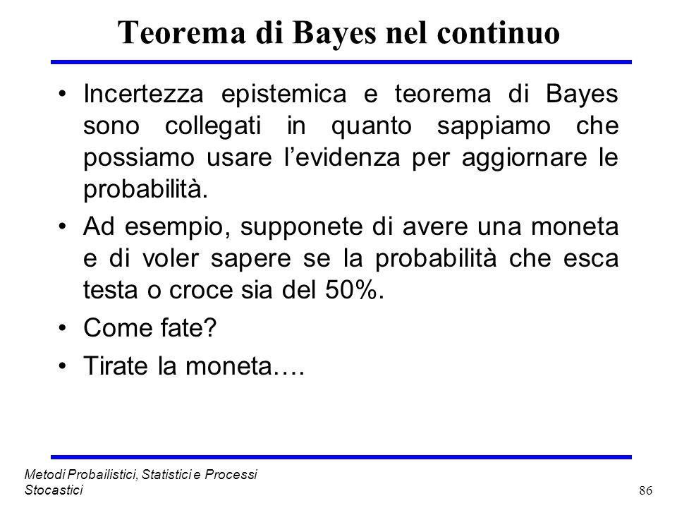 86 Metodi Probailistici, Statistici e Processi Stocastici Teorema di Bayes nel continuo Incertezza epistemica e teorema di Bayes sono collegati in qua