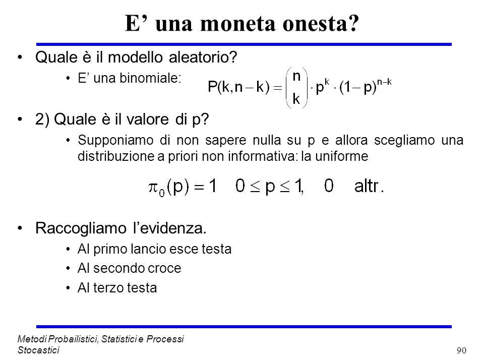 90 Metodi Probailistici, Statistici e Processi Stocastici E una moneta onesta? Quale è il modello aleatorio? E una binomiale: 2) Quale è il valore di