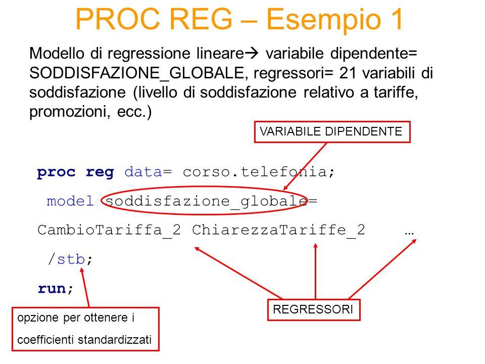PROC REG – Esempio 1 Modello di regressione lineare variabile dipendente= SODDISFAZIONE_GLOBALE, regressori= 21 variabili di soddisfazione (livello di