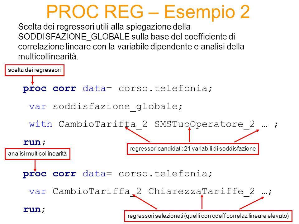 PROC REG – Esempio 2 Scelta dei regressori utili alla spiegazione della SODDISFAZIONE_GLOBALE sulla base del coefficiente di correlazione lineare con