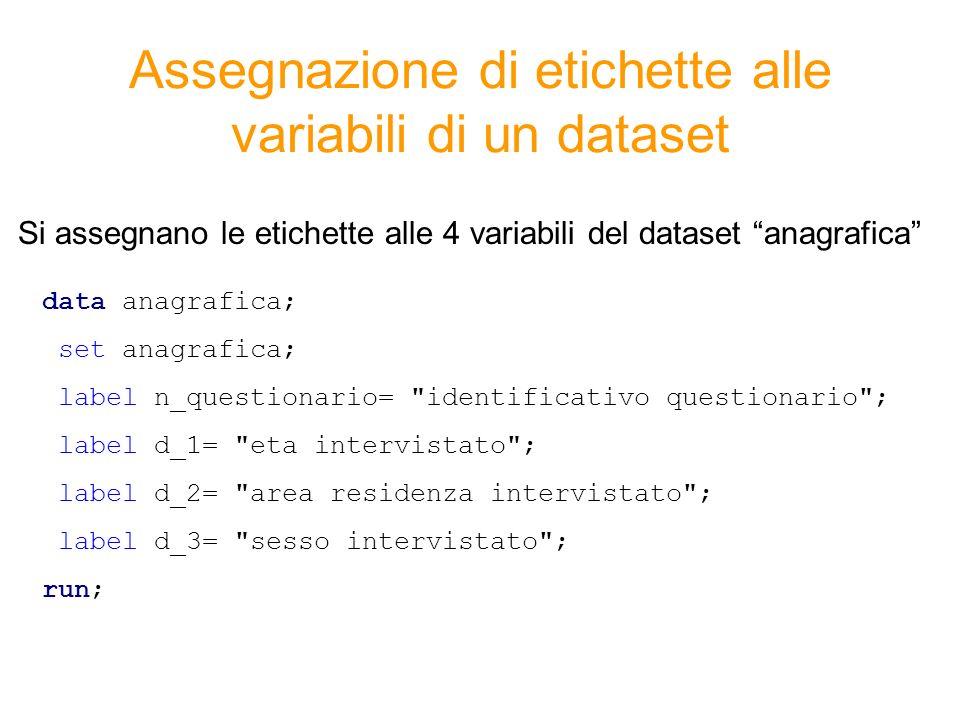Assegnazione di etichette alle variabili di un dataset data anagrafica; set anagrafica; label n_questionario=
