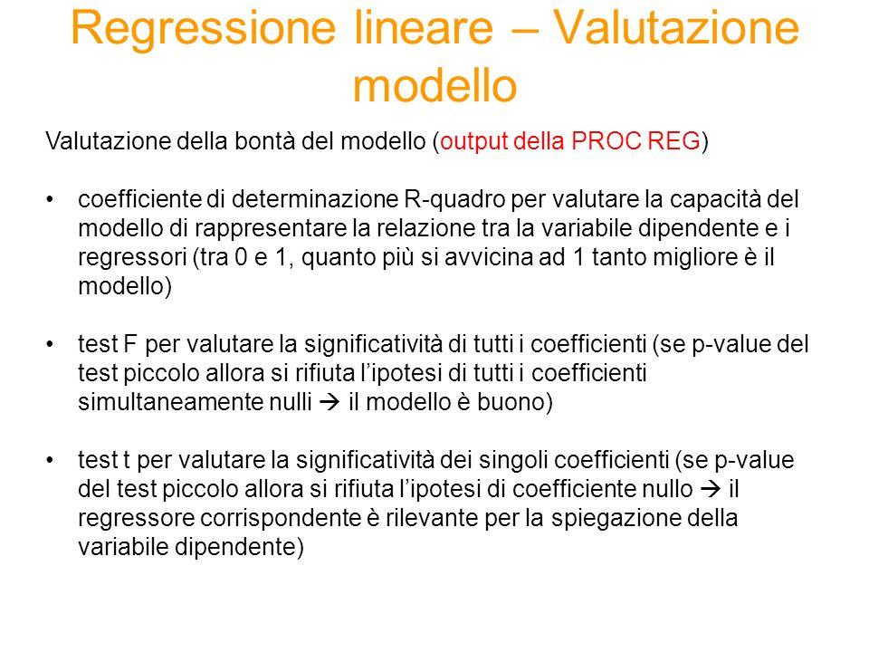 Regressione lineare – Valutazione modello Valutazione della bontà del modello (output della PROC REG) coefficiente di determinazione R-quadro per valu