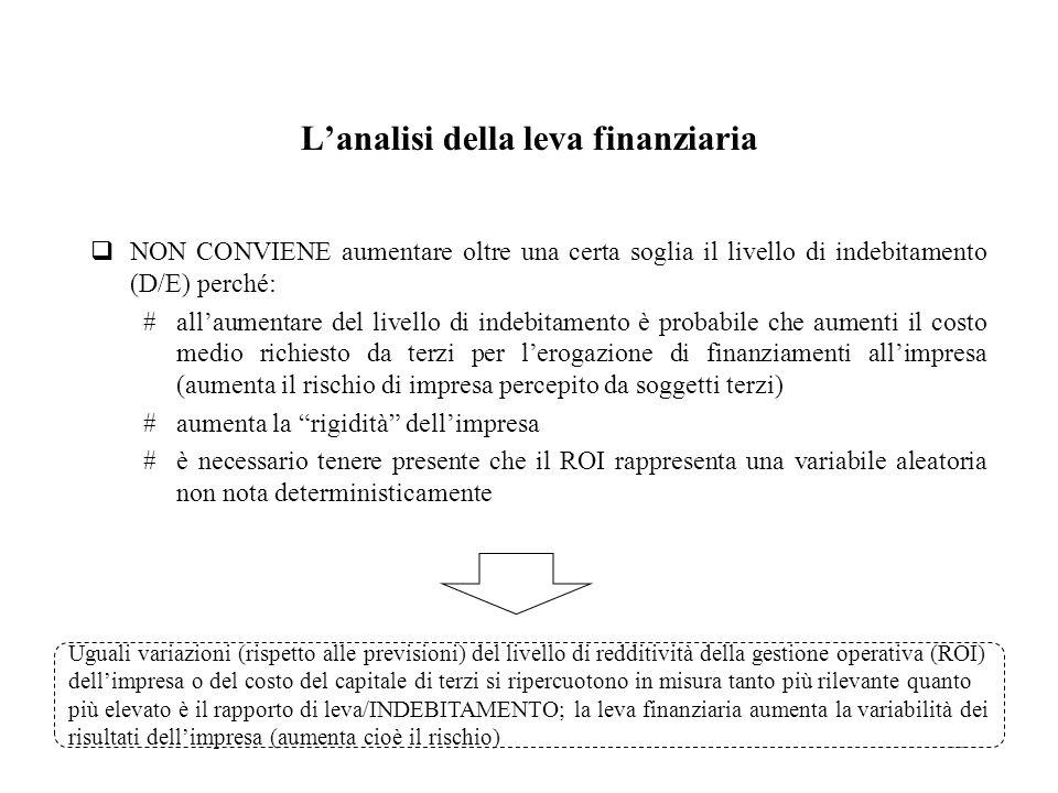 15 Lanalisi della leva finanziaria NON CONVIENE aumentare oltre una certa soglia il livello di indebitamento (D/E) perché: #allaumentare del livello d