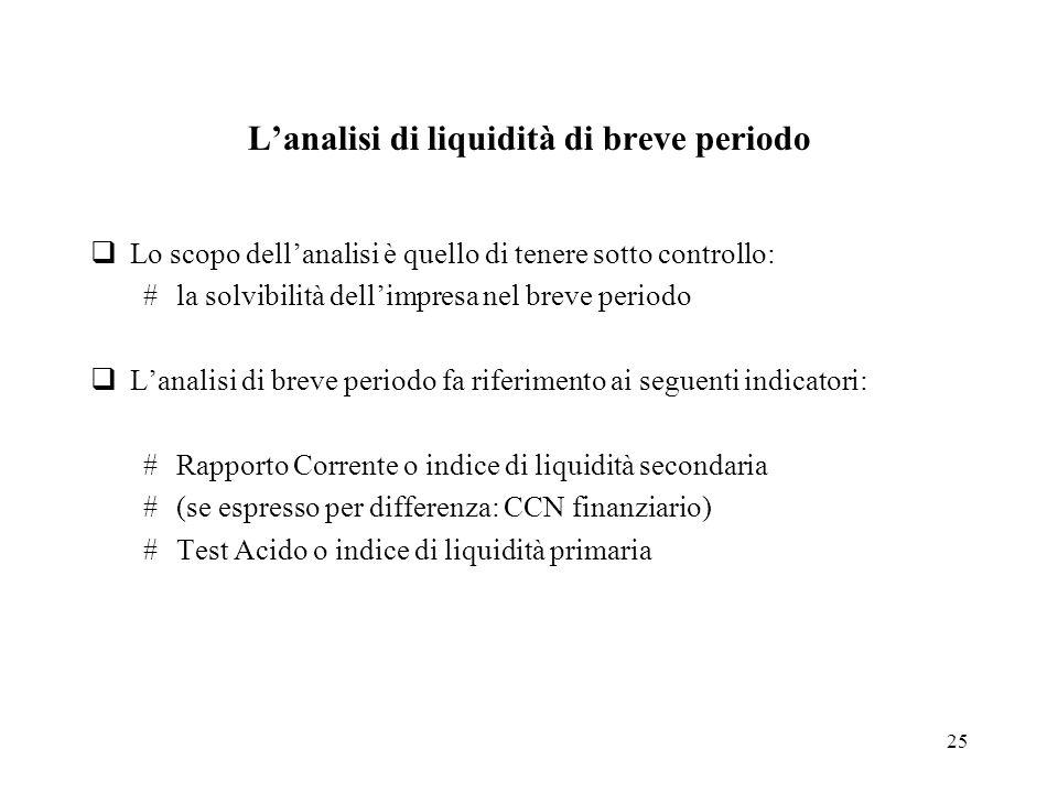 25 Lanalisi di liquidità di breve periodo Lo scopo dellanalisi è quello di tenere sotto controllo: #la solvibilità dellimpresa nel breve periodo Lanal