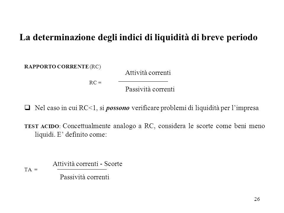 26 La determinazione degli indici di liquidità di breve periodo RAPPORTO CORRENTE (RC) RC = Nel caso in cui RC<1, si possono verificare problemi di li
