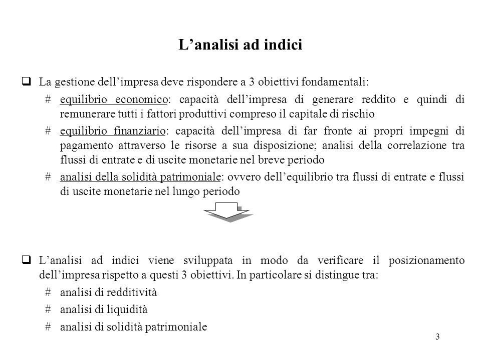 4 Lanalisi può essere: La determinazione di questi indicatori implica la definizione delle loro modalità di calcolo ( i vari indicatori sono infatti legati da precise relazioni analitiche che, per essere rispettate, devono far riferimento ad ununica logica di calcolo) Inter-periodale Inter-aziendale (imprese operanti in settori omogenei) Lanalisi ad indici