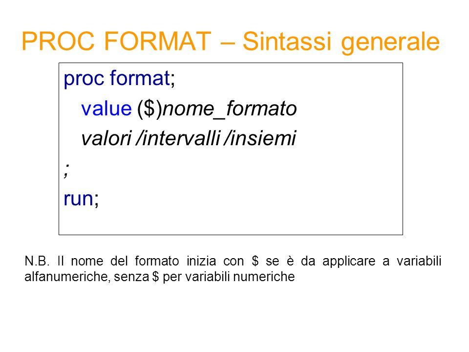PROC FORMAT – Sintassi generale proc format; value ($)nome_formato valori /intervalli /insiemi ; run; N.B. Il nome del formato inizia con $ se è da ap