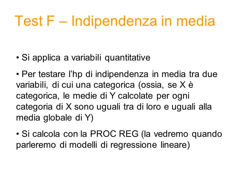 Test F – Indipendenza in media Si applica a variabili quantitative Per testare lhp di indipendenza in media tra due variabili, di cui una categorica (ossia, se X è categorica, le medie di Y calcolate per ogni categoria di X sono uguali tra di loro e uguali alla media globale di Y) Si calcola con la PROC REG (la vedremo quando parleremo di modelli di regressione lineare)