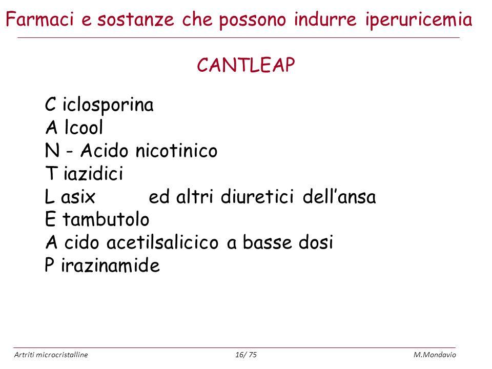 Artriti microcristallineM.Mondavio16/ 75 Farmaci e sostanze che possono indurre iperuricemia CANTLEAP C iclosporina A lcool N - Acido nicotinico T iaz