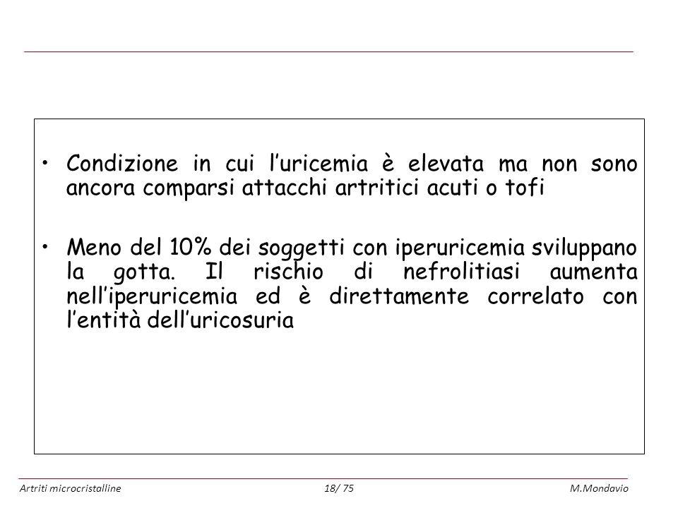 Artriti microcristallineM.Mondavio18/ 75 Iperuricemia asintomatica Condizione in cui luricemia è elevata ma non sono ancora comparsi attacchi artritic