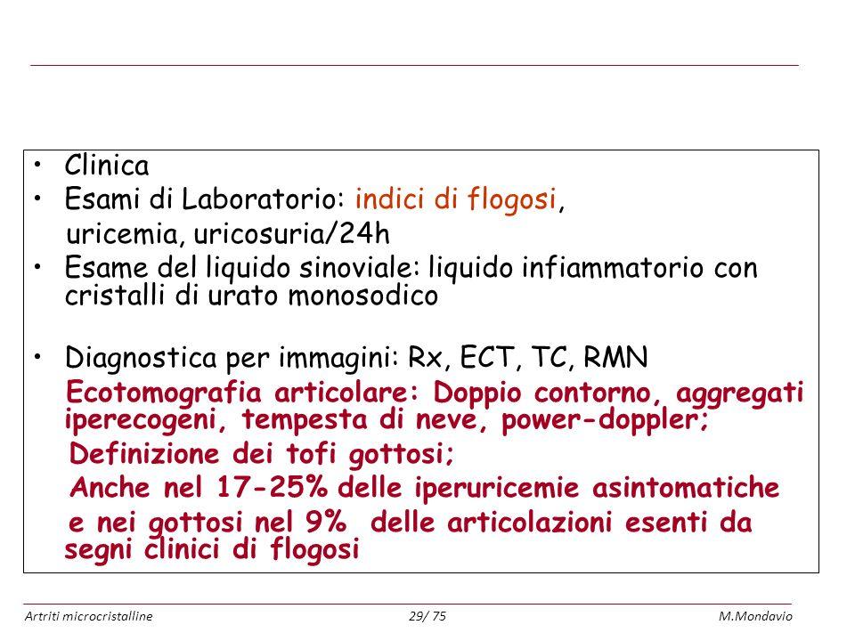 Artriti microcristallineM.Mondavio29/ 75Diagnosi Clinica Esami di Laboratorio: indici di flogosi, uricemia, uricosuria/24h Esame del liquido sinoviale