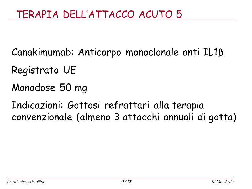 Artriti microcristallineM.Mondavio43/ 75 TERAPIA DELLATTACCO ACUTO 5 Canakimumab: Anticorpo monoclonale anti IL1β Registrato UE Monodose 50 mg Indicaz