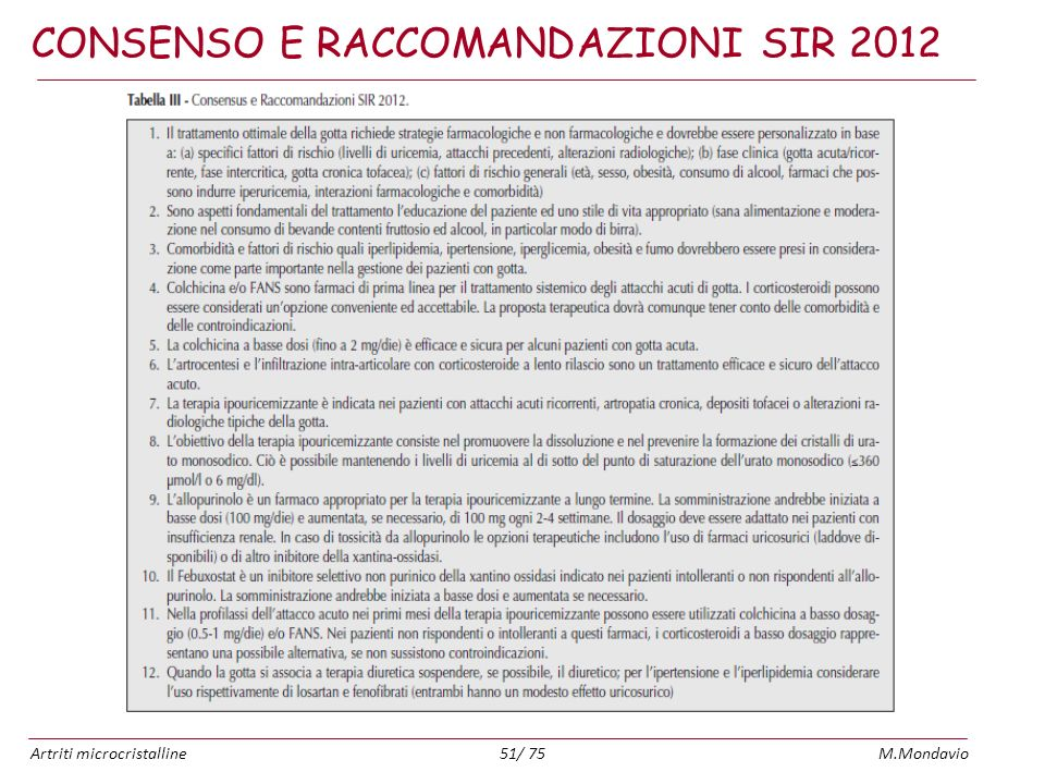 Artriti microcristallineM.Mondavio51/ 75 CONSENSO E RACCOMANDAZIONI SIR 2012