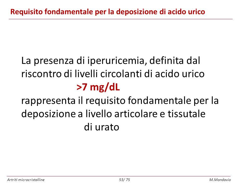 Artriti microcristallineM.Mondavio53/ 75 Requisito fondamentale per la deposizione di acido urico La presenza di iperuricemia, definita dal riscontro