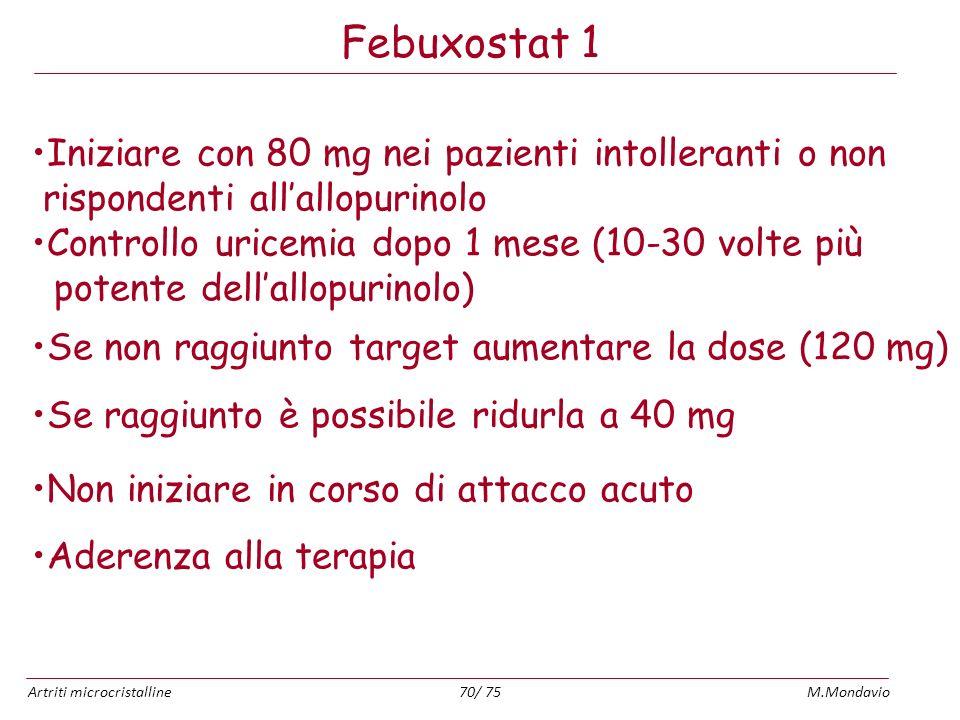 Artriti microcristallineM.Mondavio70/ 75 Febuxostat 1 Iniziare con 80 mg nei pazienti intolleranti o non rispondenti allallopurinolo Controllo uricemi