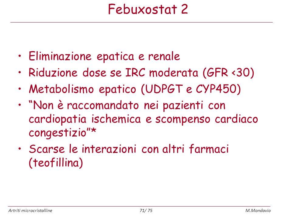 Artriti microcristallineM.Mondavio71/ 75 Febuxostat 2 Eliminazione epatica e renale Riduzione dose se IRC moderata (GFR <30) Metabolismo epatico (UDPG