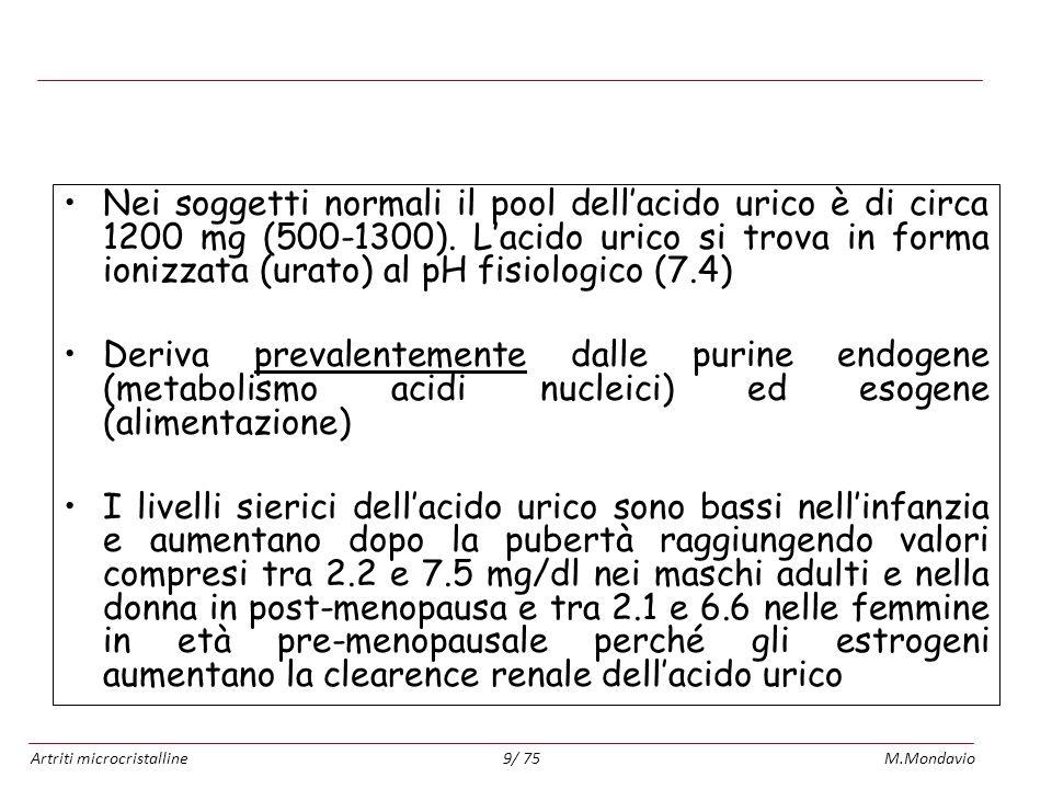 Artriti microcristallineM.Mondavio9/ 75 Metabolismo dellacido urico Nei soggetti normali il pool dellacido urico è di circa 1200 mg (500-1300). Lacido