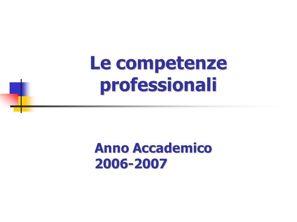Le competenze professionali Anno Accademico 2006-2007