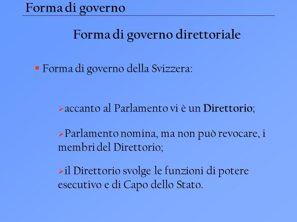 Forma di governo direttoriale Forma di governo della Svizzera: accanto al Parlamento vi è un Direttorio ; Parlamento nomina, ma non può revocare, i membri del Direttorio; il Direttorio svolge le funzioni di potere esecutivo e di Capo dello Stato.
